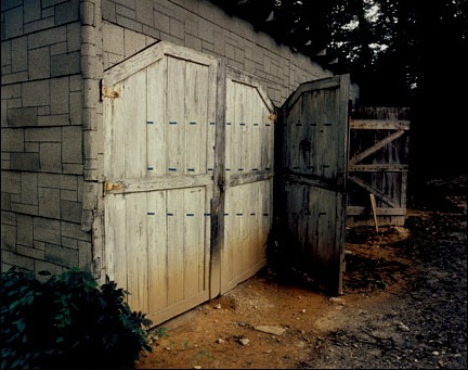 Shed with blue dotted lines, Penland, North Carolina - June 1975 by John Pfahl